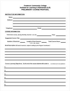 Instructor Course Form